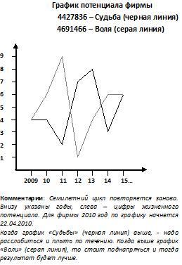 Пример графика жизненного потенциала фирмы (комментарии на картинке неполные)
