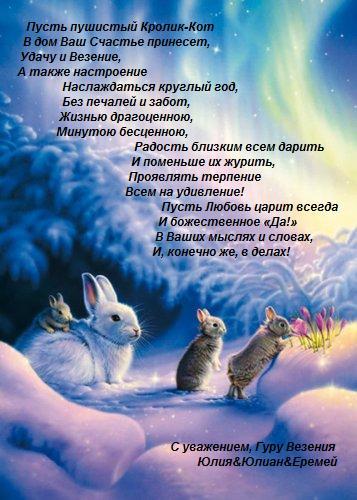 Год кролика-кота поздравление, новый год поздравления, поздравление на новый год, поздравление новый год
